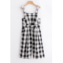 Retro Checked Pattern Drawstring Waist Overall Jumpsuit