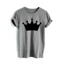 Crown Printed Round Neck Short Sleeve Leisure Tee