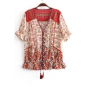 V Neck Floral Printed Short Sleeve Tassel Drawstring Hem Blouse