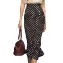 High Waist Polka Dot Printed Ruffle Hem Maxi Pencil Skirt