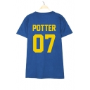 POTTER 07 Letter Printed Round Neck Short Sleeve Tee