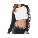 Color Block Plaid Printed Round Neck Long Sleeve Crop Sweatshirt