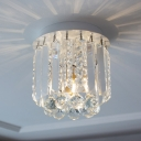 Modern Crystal Ceiling Light Kids Bedroom Single Light Crystal Flushmount Light in White
