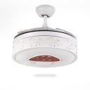 16.54''W Mushroom Round Hanging Ceiling Fan with Retractable Blade in White
