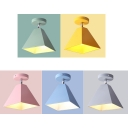 1 Light Pyramid Semi Flush Mount Colorful Nordic Hallway Metallic Semi-Flush Ceiling Light