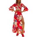 Holiday Floral Printed V Neck 3/4 Length Sleeve Split Front Maxi Asymmetric Dress