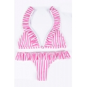 Straps Sleeveless Striped Printed V Neck Triangle Bikini