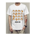 SHIBA INU Letter Dog Printed Round Neck Short Sleeve Tee