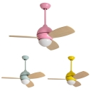 3 Wood Blade 14.18'' W Macaroon Style Chandelier Ceiling Fan for Kids in Lovely Pink/Green/Yellow