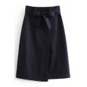 Bow Tie Waist Plain Midi A-Line Asymmetric Skirt