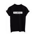 PILLOW TALK Letter Printed Round Neck Short Sleeve Tee