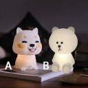 Gumdrop Lovely Puppy/Bear Touch Sensing Night Light in White for Kids Room