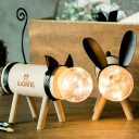 Cat Shape Open Bulb Wooden Night Light Battery-Operated