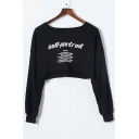 SELF-PORTRAIT Letter Printed Round Neck Long Sleeve Crop Sweatshirt