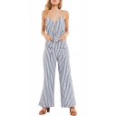 Button Embellished Spaghetti Straps Sleeveless Striped Printed Jumpsuit