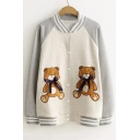 Contrast Striped Stand Up Collar Color Block Raglan Long Sleeve Bear Embroidered Button Down Baseball Jacket
