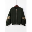 Eagle Pattern Applique Long Sleeve Stand Up Collar Zip Up Crop Jacket