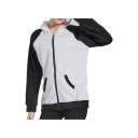 Panda Pattern Color Block Long Sleeve Zip Up Warm Hoodie