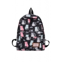 Cartoon Cat All Over Printed Backpack School Bag