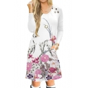 Round Neck Floral Printed Long Sleeve Midi A-Line Dress