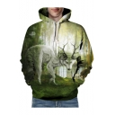 3D Antlers Wolf Printed Long Sleeve Hoodie for Couple