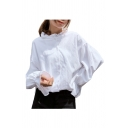 Stand Up Collar Long Sleeve Button Down Plain Chic Blouse