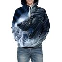 Cool 3D Rain Wolf Printed Long Sleeve Leisure Hoodie