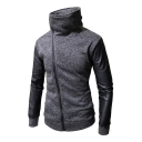 High Neck Asymmetrical Zipper PU Patchwork Long Sleeve Slim Hoodie