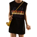 Letter Coconut Tree Graphic Printed Round Neck Sleeveless Tunic Tank