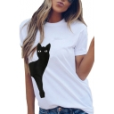 Hot Sale Cat Printed Round Neck Short Sleeve Leisure Tee