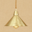 Burnished Brass Finish Single Head Pendant Light with Railroad Shade 4 Designs for Choice