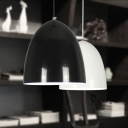 Polished Black/White One Light Study Room Ceiling Pendant Lamp in Modern Style