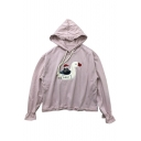 Lovely Goose Character Embroidered Long Sleeve Leisure Hoodie