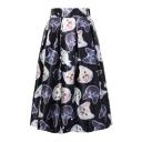 3D Cat Printed Elastic Waist Midi A-Line Skirt