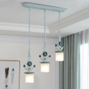 Anchor/Round Rudder Suspension Light Nautical Children Glass 3/4 Lights Ceiling Chandelier in Blue