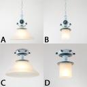 Adjustable Cylinder/Flared Pendant Light Kids White Glass 1 Light Hanging Pendant Light in Blue
