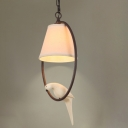 Metallic Loop Pendant Light with Bird Lodge Style 1 Head Drop Ceiling Lighting in Beige