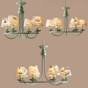 American Retro Shaded Suspended Light Fabric 4/6/8 Lights Chandelier Ceiling Light in Green