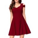 Cold Shoulder V Neck Short Sleeve Plain Mini A-Line Dress