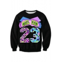 23 Number Letter Printed Round Neck Long Sleeve Sweatshirt
