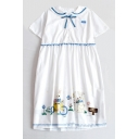Cute Rabbit Pattern Navy Collar Bow Tie Neck Short Sleeve A-Line Dress