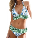 New Arrival Floral Striped Printed Halter Sleeveless Bikini