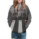 Character Sidewalk Printed Long Sleeve Unisex Hoodie