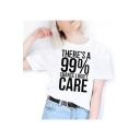 THERE'S A 99& Letter Printed Round Neck Short Sleeve Tee
