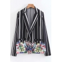 Striped Floral Printed Notched Lapel Collar Long Sleeve Blazer