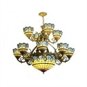 Tiffany Lamp 2-Tier Baroque Stained Glass Shade Chandelier, 15 Light