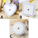 Portable Mini Light-Sensing Heart/Square/Round Shape LED Night Light in Blue/White/Yellow/Pink
