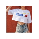 I'M BLUE Letter Lip Printed Round Neck Short Sleeve Crop Tee