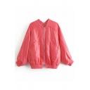 Stand Up Collar Zipper Back Long Sleeve Zip Up Plain Jacket