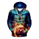 3D Owl Sky Printed Long Sleeve Leisure Hoodie
